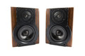 Pair of music speakers modern in classic wooden casing isolated on white background Stock Photography