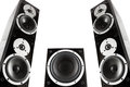 Pair of music speakers and subwoofer black high gloss isolated on white background Royalty Free Stock Images