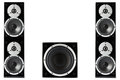 Pair of music speakers and subwoofer black high gloss isolated on white background Stock Images