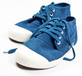 A pair of new blue shoes on white background Stock Photography