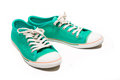Pair of new green sneakers isolated on white Royalty Free Stock Photography