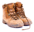 Pair of old worn walking boots Royalty Free Stock Photo