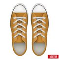 Pair of orange simple sneakers. Realistic Vector Royalty Free Stock Photo