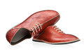 Pair of red men shoes  over white Stock Photo