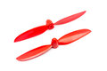 Pair of red propellers for radio controlled model aircraft Royalty Free Stock Photo