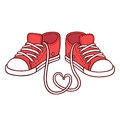 Pair of red sneakers Royalty Free Stock Photo