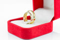 Pair ring in a gift red box on white background Stock Image