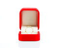 Pair ring in a gift red box on white background Stock Photo
