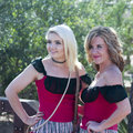 A Pair of Saloon Girls of Old Tucson, Tucson, Arizona Royalty Free Stock Photo