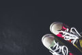 Pair of shoes arranged on the bottom right corner for this shot. Royalty Free Stock Photo