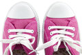Pair of sneakers close up a on white background Stock Image