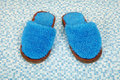 Pair of soft blue slippers Royalty Free Stock Photography