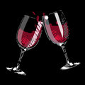 Pair of splashing wine glass Stock Images