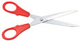 Pair of standard scissors with red handles Royalty Free Stock Photo