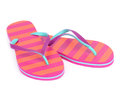 Pair of striped flip-flop sandals Royalty Free Stock Photos