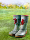 Pair of stylish green boots with red laces standing on a green lawn in a sunbeam with golden bokeh Stock Image
