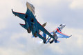 Pair of Sukhoi Su-27 jet fighters of Aerobatics team Russian Knights at Kubinka air force base during Army-2015 forum Royalty Free Stock Photo