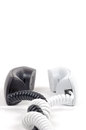 Pair of telephone receivers. Black and white. Royalty Free Stock Photo