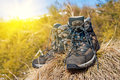 Pair of touristic boots Royalty Free Stock Images