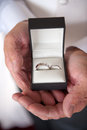 Pair of wedding rings for bride and groom Stock Photo