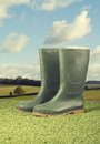 Pair wellington boots grass vintage feel Royalty Free Stock Images