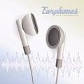 Pair of white earphones