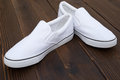 Pair of white sneakers Royalty Free Stock Photo
