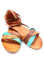 Pair of womanly sandals on white background leather isolated Stock Photos