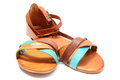 Pair of womanly sandals on white background Royalty Free Stock Photo