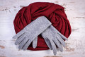 Pair Of Woolen Gloves And Shaw...