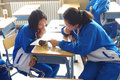 Pair work study chinese students having a tianjin university high school china Stock Image