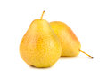 Pair of yellow ripe pears on white background Stock Photos