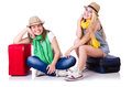 Pair of young students travelling Royalty Free Stock Image