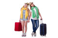 Pair of young students travelling Royalty Free Stock Images