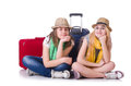 Pair of young students travelling Stock Photo