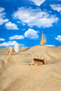 Paisaje con el seashell y las piedras en el cielo Foto de archivo