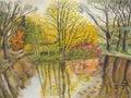 Paisaje del otoño, pintando Fotos de archivo