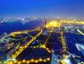 Paisaje urbano de osaka en la noche Imagenes de archivo