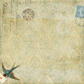Paisley background vintage blue bird with letter Royalty Free Stock Photo