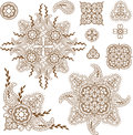 Paisley design elements set henna mehndi abstract floral Stock Photography