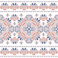 Orange and blue seamless pattern with ornamental stripes
