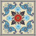 Paisley floral pattern in russian style. Medallion with red poppy and light blue flowers. Winter design.