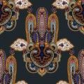 Paisley hamsa ornament background