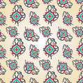 Paisley heart seamless pattern with and flowers wrapping paper for valentines day vector illustration Stock Photography