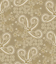 Paisley pattern with figured gray frame in the center on a beige background Royalty Free Stock Photo