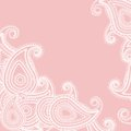Paisley pink card or invitation with on indian grounds vector illustration Royalty Free Stock Images