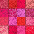 Paisley seamless pattern of patchworks pink red fancy Stock Image
