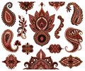 Paisley set. Oriental decorative design elements. Henna mehndi tattoo ornament.