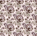 Paisley in shades of lilac with flower pattern on a pink background Royalty Free Stock Images