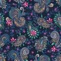 Paisley style luxury seamless pattern